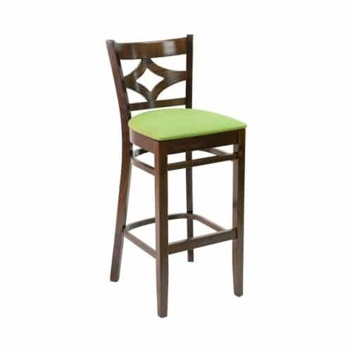 barstool with detailed back design and upholstered seat