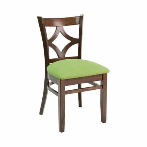 wood side chair with back design and upholstery seat