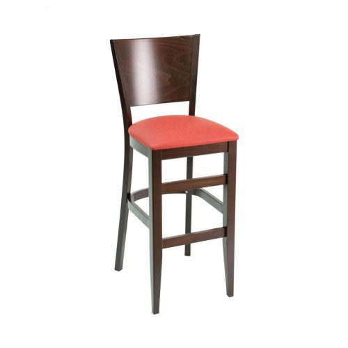 wood barstool with high back and upholstery seat