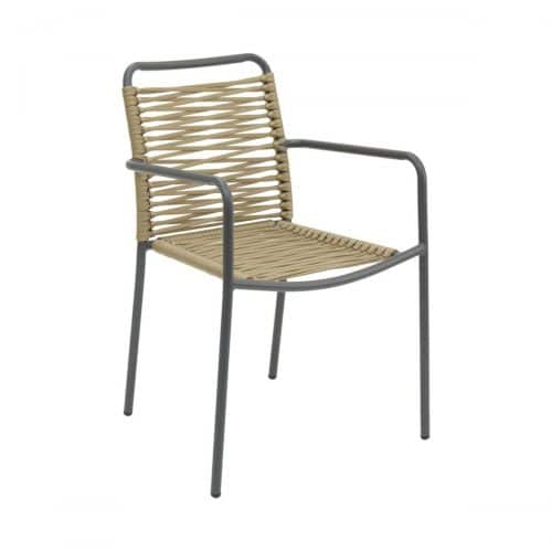 anthracite outdoor arm chair with gold rope seat and back
