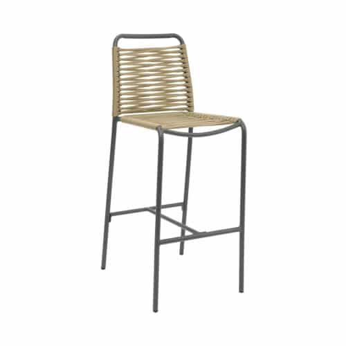 anthracite outdoor barstool with gold rope seat and back