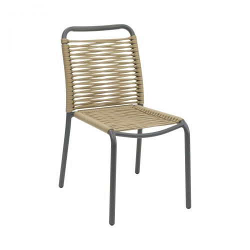 outdoor side chair with anthracite frame and gold rope seat and back