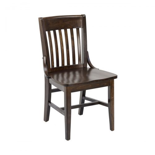 flat black wooden chairs with vertical back bars