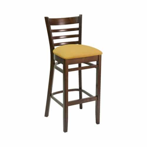 ladder back wood barstool with upholstered seat