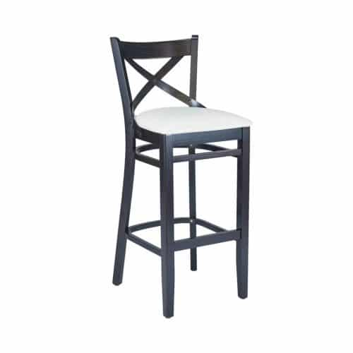 cross bar barstool with wood frame and upholstery