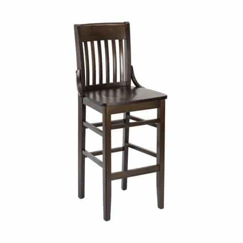 flat back wooden barstool with vertical back bars