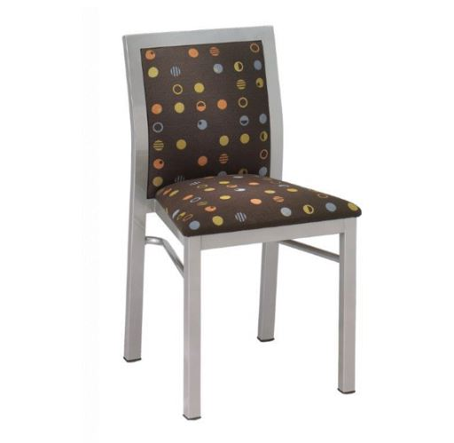 chair with brown upholstery and polka-dots
