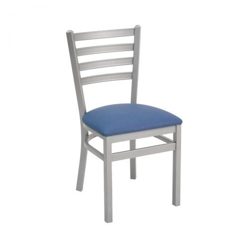 silver metal ladder back chair with upholstered seat