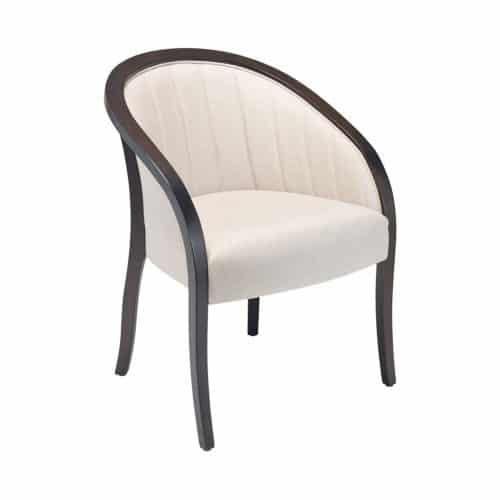 upholstered lounge chair with detailed stitching