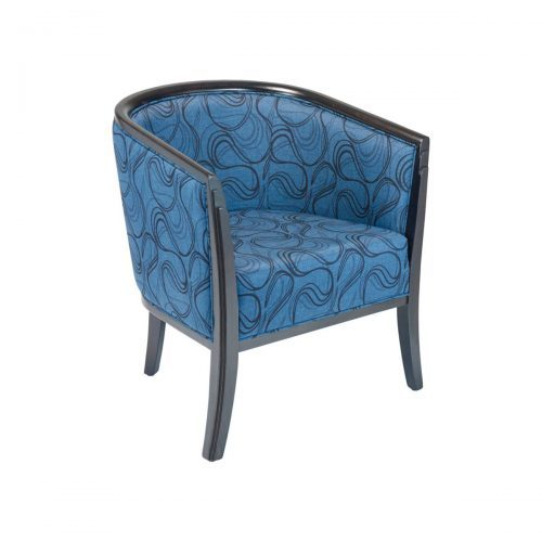 lounge chair with wrap around back and upholstery