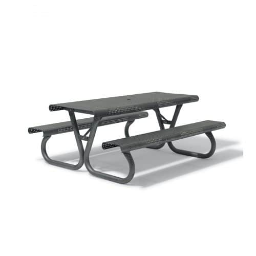 black outdoor picnic table with two benches