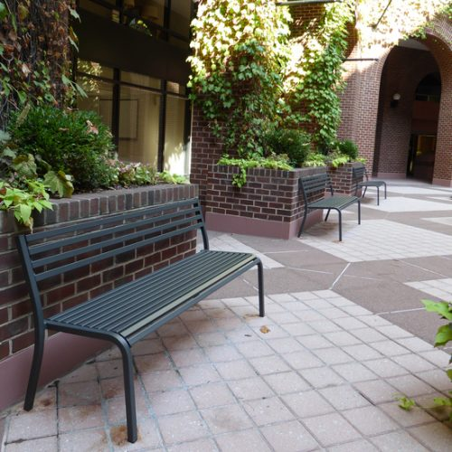 outdoor black benches for public space