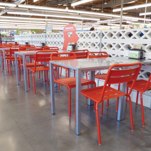 silver tables and red chairs for restaurant