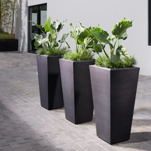 outside planters in slate
