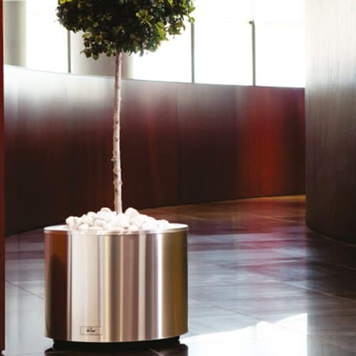 silver matte round planter with tree