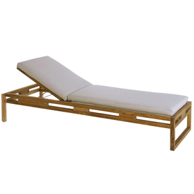 outdoor lounge reclining chair in natural teak
